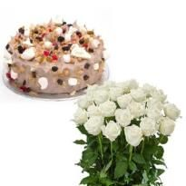 Order Delicious N Elegant cake and flowers burst  for delivery in coimbatore  Winni offers #online_cake_delivery_in_coimbatore