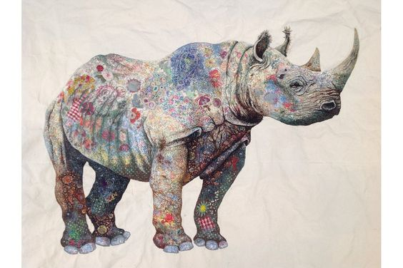 Black Rhino - Sophie Standing Art | Sophie Standing Art | Textile embroidery art from Africa: