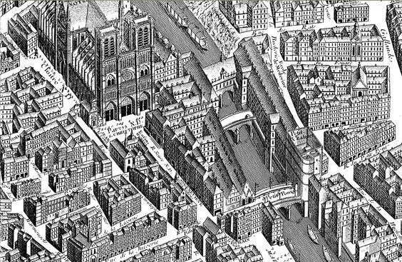 Free coloring page coloring-paris-neighborhood-notre-dame. Old bird-view representation of the neighborhood of Notre Dame, on the Ile de la Cité in Paris, alleys and buildings designed in a very careful style, for a coloring page that will be very interesting to realize #coloring #pages #adults #book #drawing #zen #relaxing #city #paris