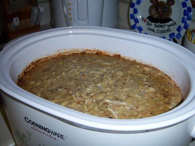 Crockpot Dressing.  I started making this a couple of years ago and my husband says it is even better than his MOMS!  Now, THAT'S saying a lot!  :)
