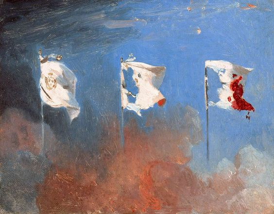 The White flag of the monarchy transformed into the Tricolore as a result of the July Revolution, painting by Léon Cogniet (1830).