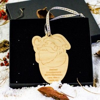 Engraved Maple Wood Santa Decoration