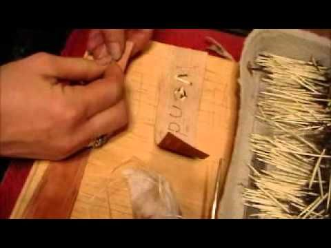 How to do porcupine quillwork Nancy Today: Quillwork nameplate Birchbark - YouTube