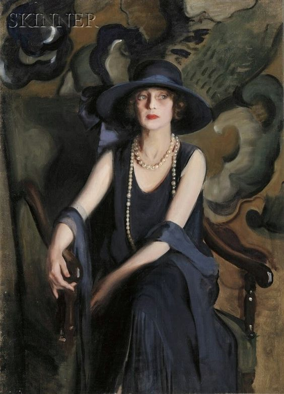 Portrait of a Woman in Pearls.  Unsigned. http://www.liveauctioneers.com/item/8435119: Olive Green, Arthats, Art Hats, Blue Greys, Formal Portraits, Artdeco, Art Portraits
