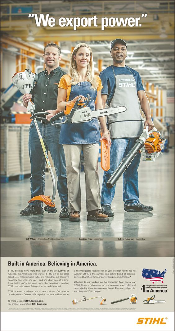 Check out this ad GWA ran for our client, STIHL USA, on page 6B in USA Today on 10/10/12. The ad is part of STIHL's Built in America campaign.