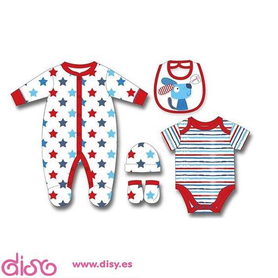 #accesoriosmuñecas Ropa para muñecas - Conjunto estrellas y rayas rojo - T. 0 meses www.disy.es