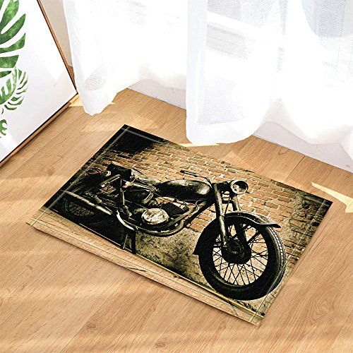 Kotom Retro Man Cave Decor Old Motorcycle Parked Beside The Red