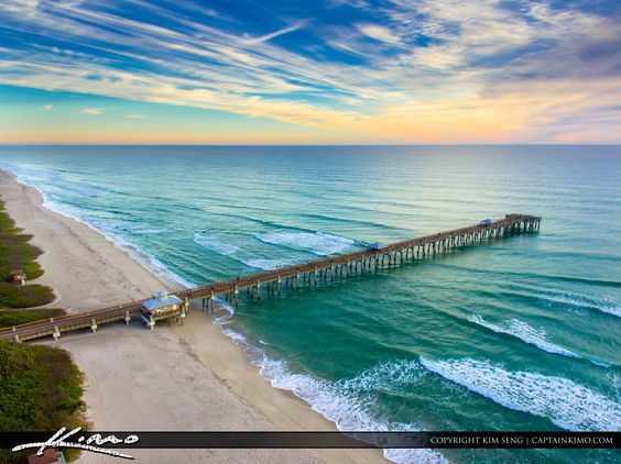 Juno Beach Pier this morning, not the best sunrise but had some nice colors northeast. Aerial photo with DJI3. #lovefl  ♠ re-pinned by http://www.waterfront-properties.com/