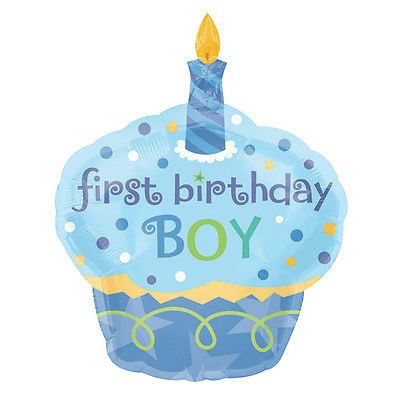 Blue cupcake 1st birthday boy balloon bouquet round for 1 year birthday decoration