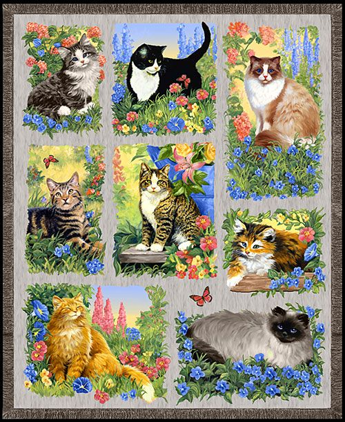 Kittens Love Cotton Quilt Block Multi Sizes FrEE ShiPPinG WoRld WiDE
