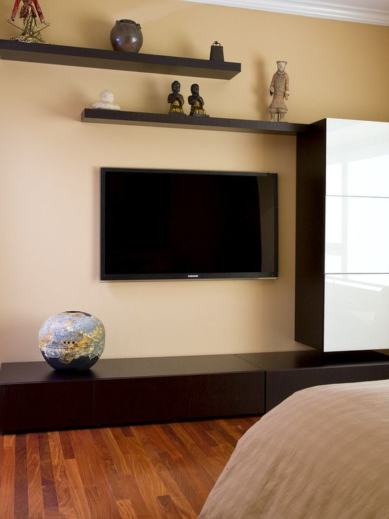 Floating shelves around flat screen tv design pictures - How high to mount tv in living room ...