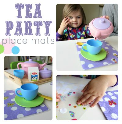 Mess Free Place Mat Craft  For Kids - such a cute idea for tea parties .