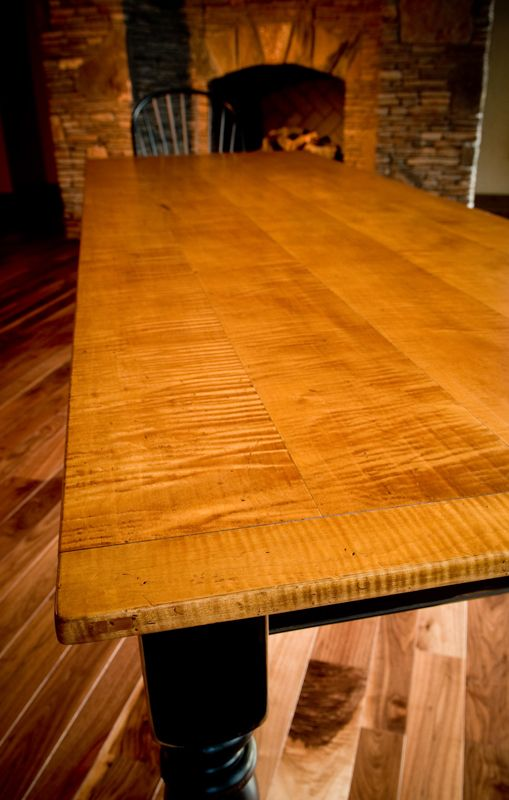 Hand Scraped Tiger Maple Top With Bread Board Ends Amber Gold Finish Maple Dining Table Tiger Maple Dining Table