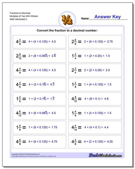 Https://www.dadsworksheets.com : Fraction Worksheets To Decimals Multiples  Of Two With Wholes Www.dadsworksheets.com/wo… Math Worksheets, 5th Grade  Math, Decimals