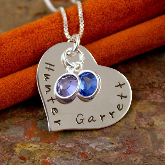 Personalized Heart Necklace - Hand Stamped Sterling Silver jewelry - Close to me
