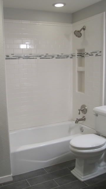 Subway shower tile with accent bathroom remodel - Accent color for gray and white bathroom ...