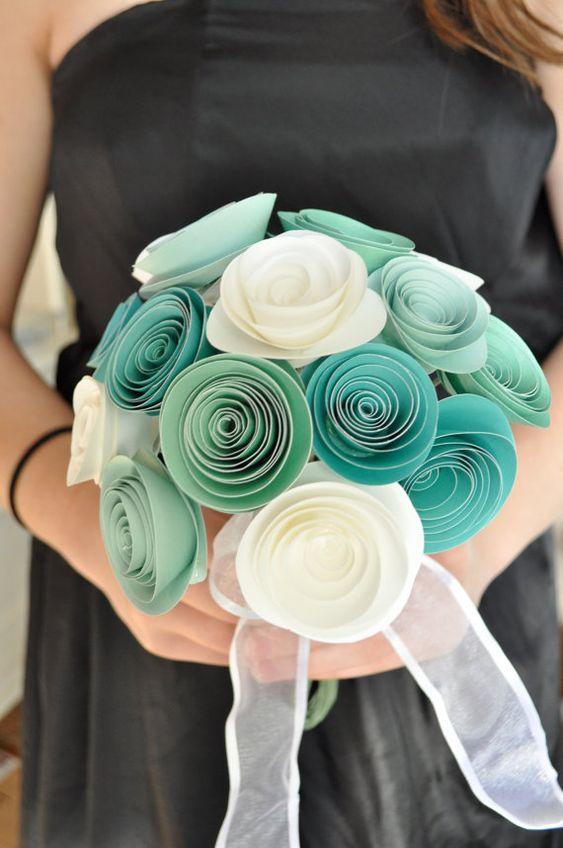 Bridal Bouquet Paper flower Bouquet Bridesmaid by lillesyster