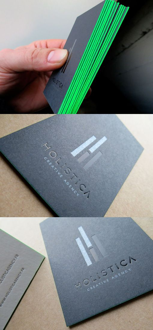 101 best 100 creative black business cards for your inspiration black hot stamping and debossing 2 colors r v silver and fluorescent slices of neon color on black business card design and white paper reheart Image collections