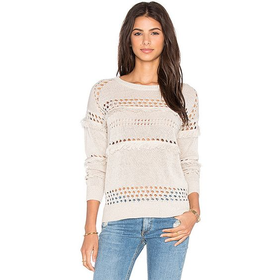 Greylin Isla Fringe Sweater Sweaters & Knits ($114) ❤ liked on Polyvore featuring tops, sweaters, sweaters & knits, striped top, greylin top, striped knit top, pink striped top and knit tops