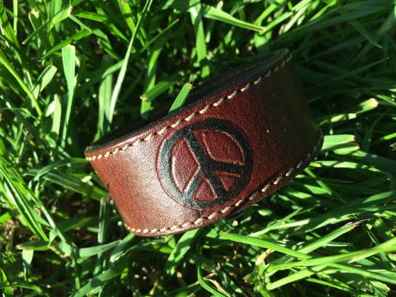 PEACE Medium Brown & Black Handpainted by HippieChicHealing, $37.00