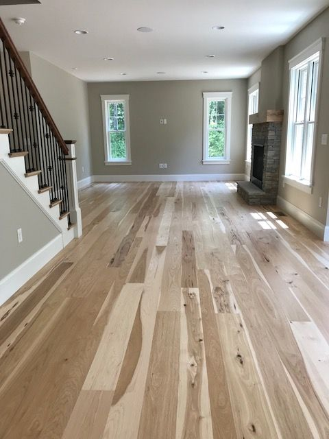 Character Grade Wide Plank Hickory Flooring Finished With A Bona