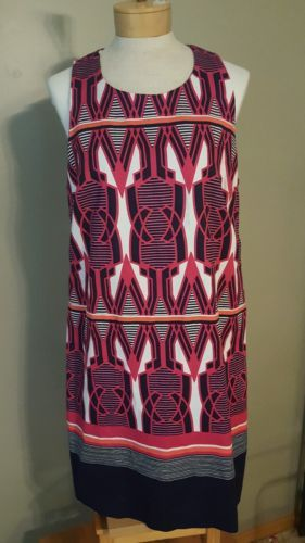 NWT CROWN & IVY  DRESS. SZ 12. PINK & NAVY GEOMETRIC PATTERN. NICE!