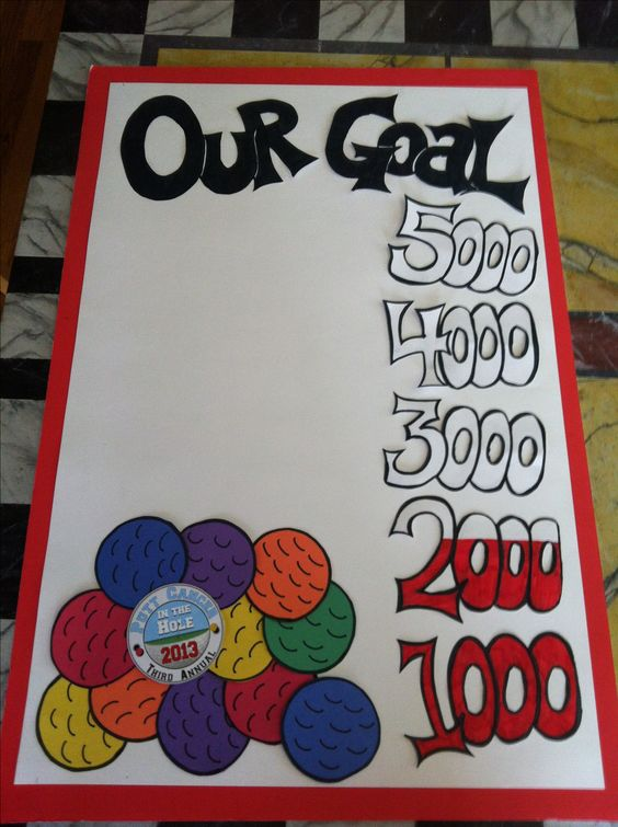 Fundraising goal poster, but change the golf balls to coins for the AOK Coin Drive!