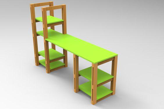 DESK IN WOOD - Autodesk Inventor,AutoCAD,STEP / IGES - 3D CAD model - GrabCAD