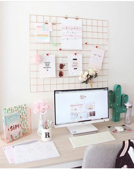 Cute Room Decor Desk Decor Study Desk Office Desk Pink Decor Girls Room Student S Room Comfy Home Office Design Home Office Decor Cute Room Decor