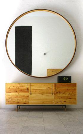 "BDDW 72"" diameter leather frame mirror"