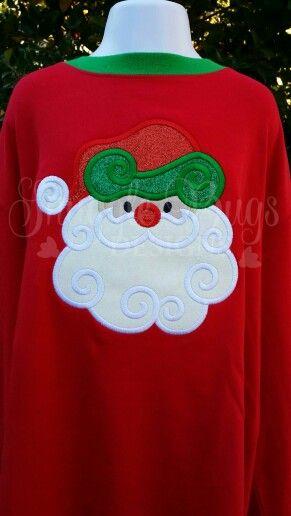 Sparkle swirl santa Snugglebygsdesigns2@gmail #hoildayattire #embroidery #glitter