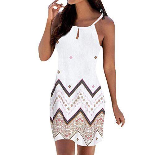 Women Summer Cotton Linen Dress Ladies Sleeveless Shoulder Clasp Butterfly Print O-Neck Sundress with Pockets