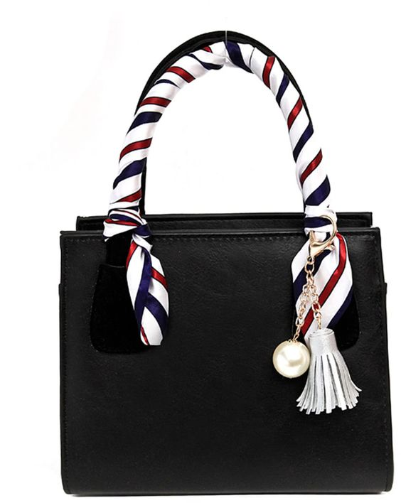 Romwe Faux Pearl & Tassel Charm Bag With Twilly Scarf