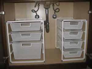 Under bathroom sink organization. Why didn't I think of this before?!