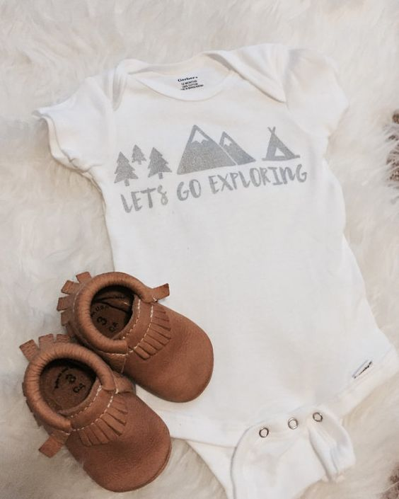 All Onesies are 100% Handmade and screen printed by Shop Aria. We sell baby onesies or toddler tees. This design Lets Go Exploring is Unisex. All