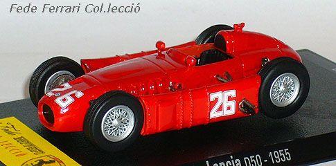 Lancia D50 nº26 del GP de Mónaco 1955, con el que Ascari terminó en el mar. Después de su muerte una semana más tarde en otro accidente, todos los ejemplares del Lancia D50, fueron cedidos a la Scuderia Ferrari. Modelo realizado por RBA a escala 1:43