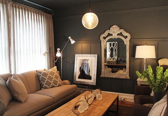 Paint color portfolio charcoal living rooms grey living for Dark painted rooms