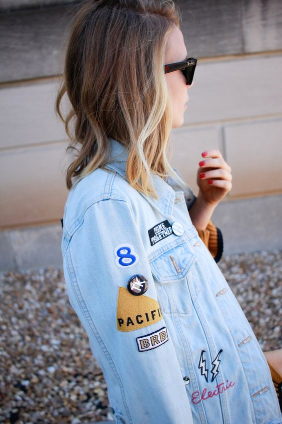 Levi's denim jacket with patches and enamel pins - ragpepper.com