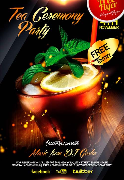 free tea and cocktail party flyer psd template