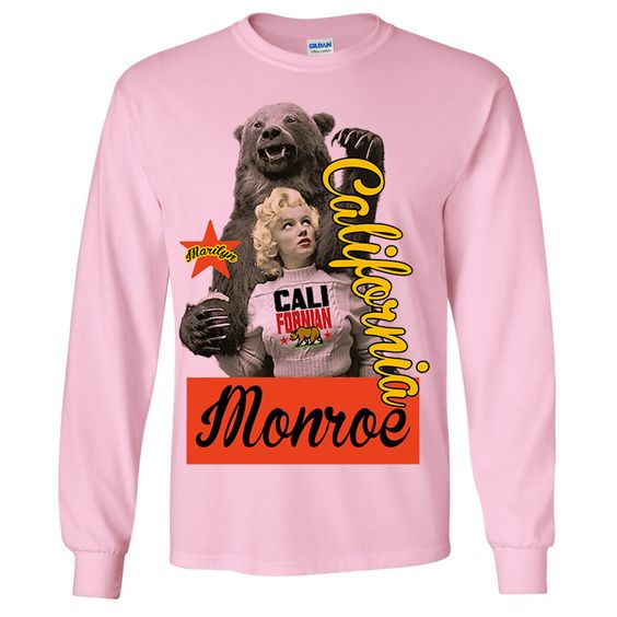 California Republic Marilyn Monroe Grizzly Bear Flag Long Sleeve Shirt