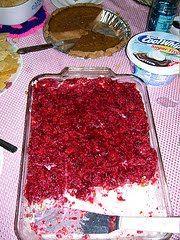 Raspberry/Strawberry Jello Pretzel Dessert