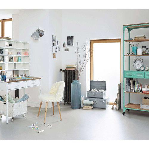 secr taire stile industriale in mango e metallo copernic sedia in ecopelliccia bianca. Black Bedroom Furniture Sets. Home Design Ideas