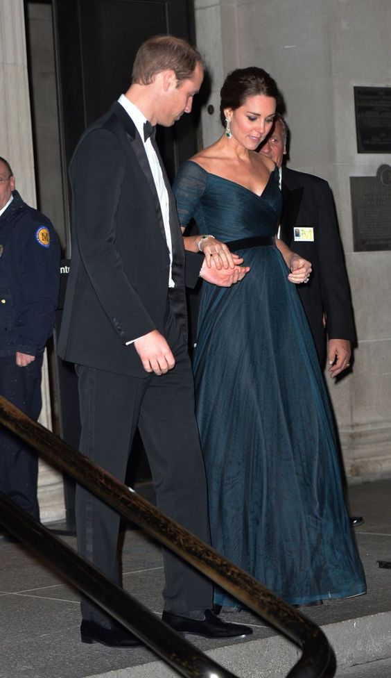 Tuesday, December 9th: At a fundraiser for the University of St. Andrews at the Metropolitan Museum, Kate wore a Jenny Packham gown with emerald and diamond earrings. Photo: Paul Edwards - Pool/Getty Images