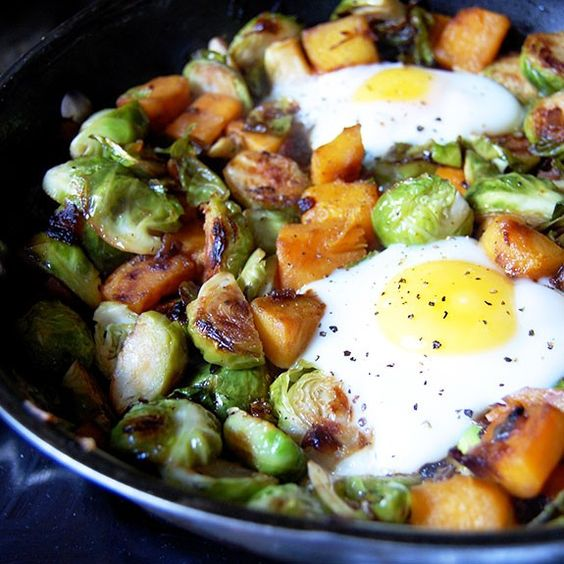 Flavors, colors, and textures abound in this easy stovetop hash. Composed mainly of Brussels sprouts and butternut squash, this dish is packed with healthy nutrients for your diet. The hash can be enjoyed by itself or with soft-cooked eggs cooked right into the skillet. Get free paleo recipes...