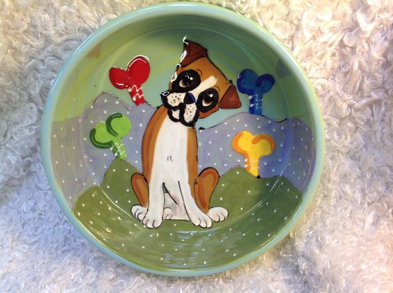 """Hand Painted Dog Bowl """"Baffled Boxer"""" signed by Debby Carman Faux Paw Productions by FauxPawProductions on Etsy"""