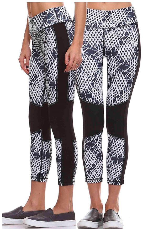 Look great at the gym, cross fit or yoga class. Pair with our black long front sports bra. - This abstract print capri leggings features black contrast panels along knees with sides. (black/gray/white