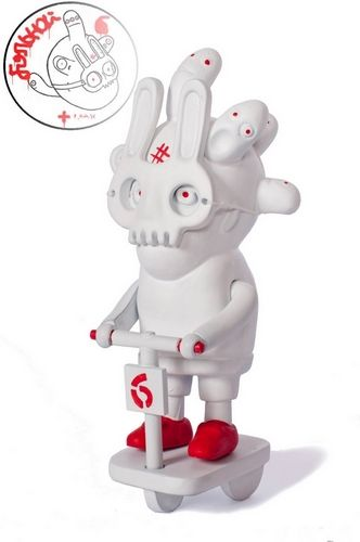 """Ukrainian artistPatient No.6has a new lineup of resin figures in a collection called 'Red & White'. The lineup includes six toys:""""Scull of Patient No.6"""", """"Gagarin in Rocket"""", """"Patient No.6 in car"""", """"Doctor"""", """"Patient No.6 Rabbit mask"""", and""""Patient No.6 after lobotomy"""".  $56"""