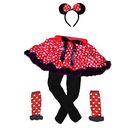 Mini Mouse Red/Polka Dots Tutu w/Black Ruffle Trim & Head…
