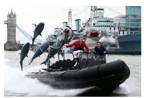 Jedward on the Thames promoting Sharknado 3