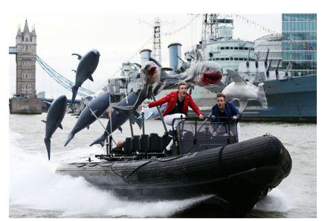 Jedward on the Thames promoting Sharknado 3